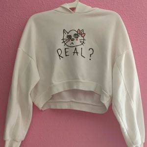 HANDDRAWN CROPPED HELLO KITTY HOODIE